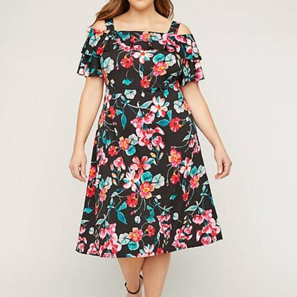 Floral Cold-Shoulder Fit & Flare Dress Catherines